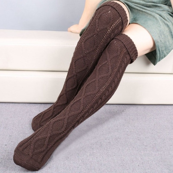 76809a348e3dc C.C. Boutique Accessories | Nwt Thigh High Cable Knit Chocolate ...
